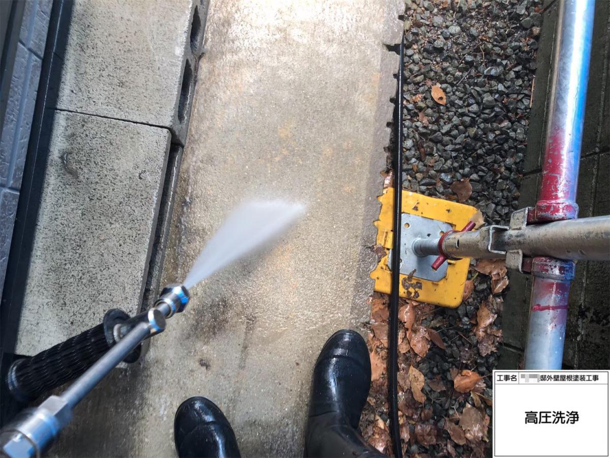 土間コンクリート高圧洗浄の画像